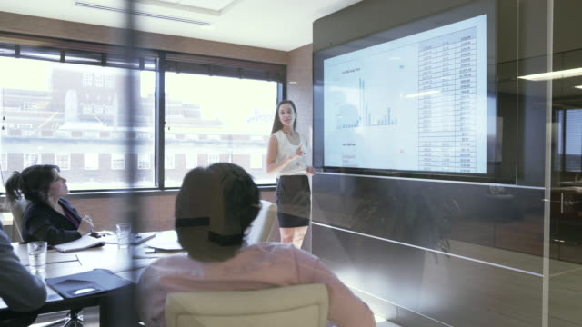 dolly shot of businesswoman explaining data to colleagues in board room seen through glass - dolly shot stock videos & royalty-free footage