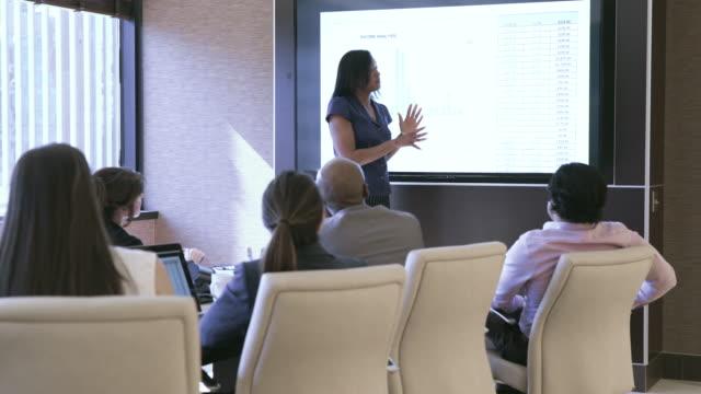 vidéos et rushes de dolly shot of businesswoman with colleagues analyzing data in board room - engagement des employés