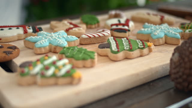 dolly shot of christmas cookies ,no people - buttermilk biscuit stock videos & royalty-free footage