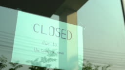 2 Dolly shot of Closed sign on shop door.