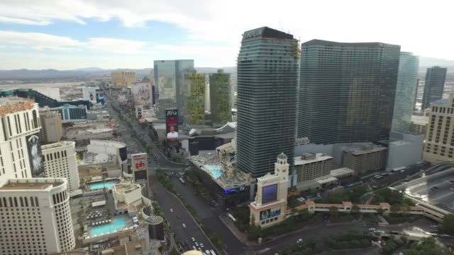 Dolly shot of daytime aerial view of Las Vegas