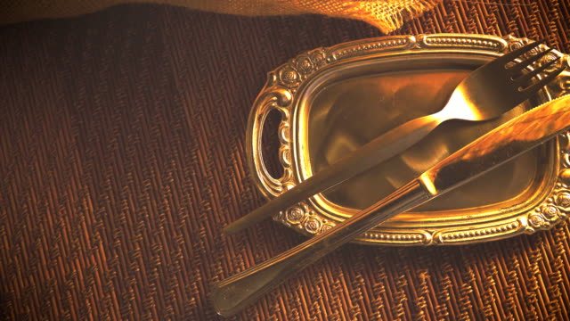 dolly shot of empty plate and silverware set - table knife stock videos & royalty-free footage