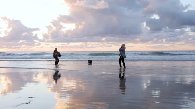 stockvideo's en b-roll-footage met dolly shot of family playing on shore at beach against cloudy sky - familie met drie kinderen