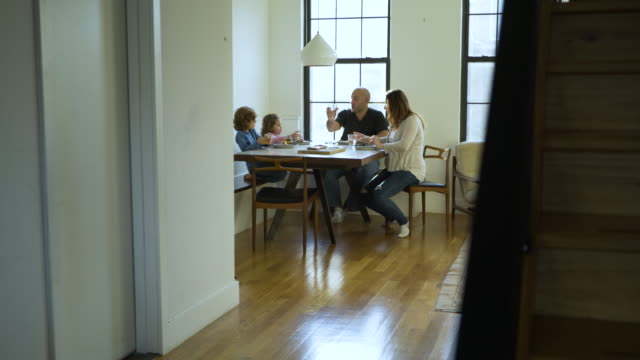 dolly shot of family toasting drinks at dining table - pendant light stock videos & royalty-free footage