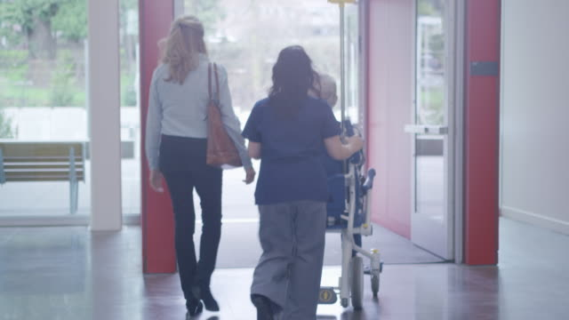 dolly shot of female doctor with coworker pushing patient sitting in wheelchair while walking towards hospital doorway - bag点の映像素材/bロール
