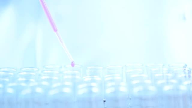 dolly-schuss der wissenschaftlerin mit weißen schutzanzug mit pipette füllen chemische substanz in reagenzgläser machen experimente im labor - pipette stock-videos und b-roll-filmmaterial