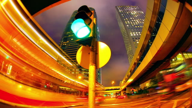 dolly shot of hong kong at night. - traffic light stock videos & royalty-free footage