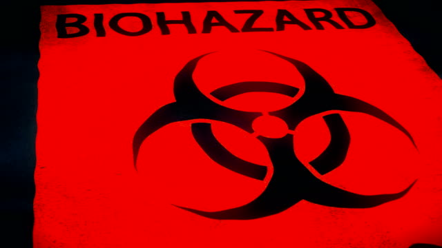 dolly shot of infectious waste biohazard container - biohazard symbol stock videos & royalty-free footage