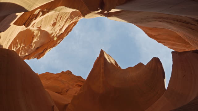 dolly shot of low angle of lower antelope canyon navajo tribal park in utah usa - arch stock videos & royalty-free footage