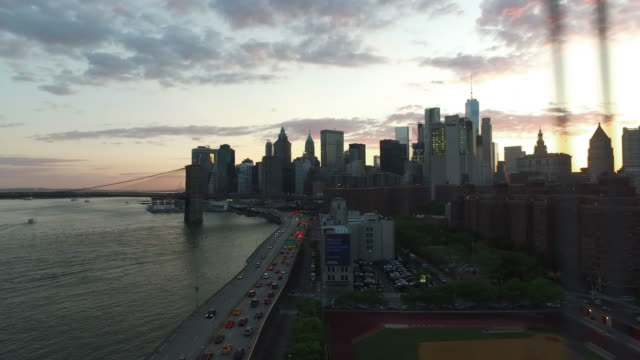 Dolly shot of Manhattan Sunset in New York City