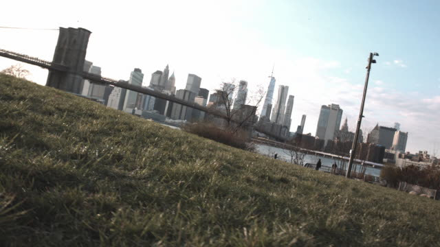 dolly shot of new york city's skyline on a blue sky autumn afternoon - east river stock videos & royalty-free footage