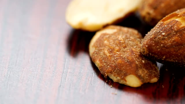 Dolly shot of salt almond good for health