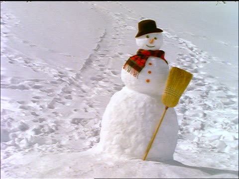 dolly shot of snowman with scarf + broom in snow