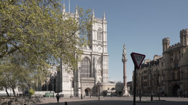 stockvideo's en b-roll-footage met een dolly schot van westminster abbey onthuld van achter een boom in glorieuze lente zon - westminster abbey