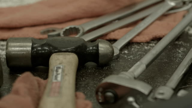 dolly shot past a bunch of tools - toolbox stock videos and b-roll footage