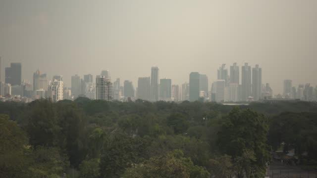 Dolly shot PM2.5 dust air pollution in Bangkok, Thailand