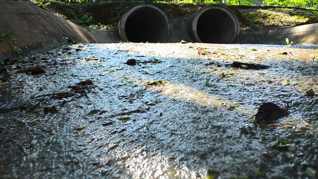 dolly shot: polluted water from the sewer - full hd format stock videos & royalty-free footage