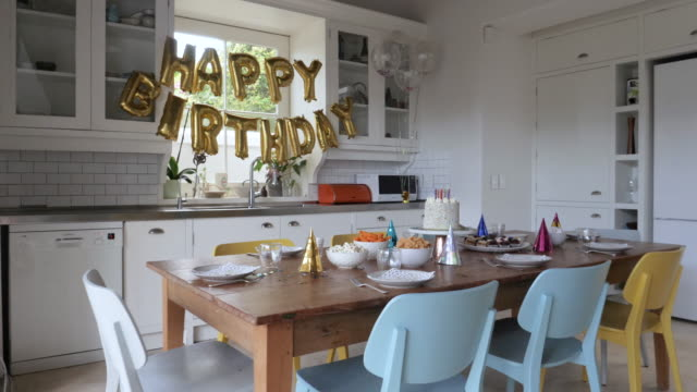 dolly shot, preparation for birthday party - domestic kitchen stock videos & royalty-free footage