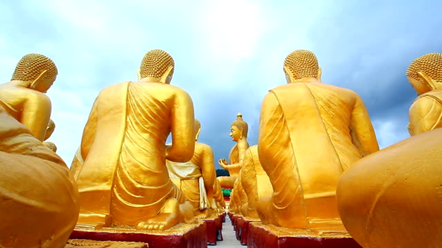 Dolly Shot: Row of Sitting Buddha Statues