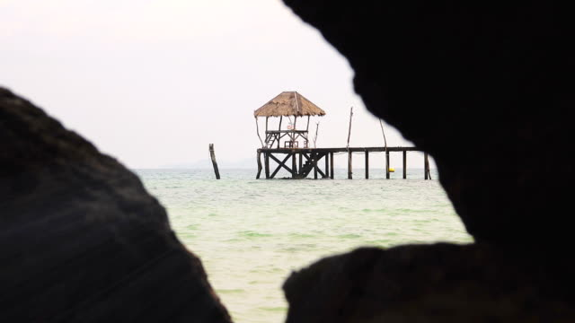 dolly shot: sea bridge in koh mak, province trat in thailand. - trat province stock videos and b-roll footage