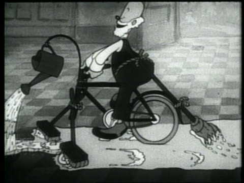 vídeos y material grabado en eventos de stock de b/w 1937 animation dolly shot senior man on bicycle with mops + broom riding through + cleaning kitchen - tarea doméstica