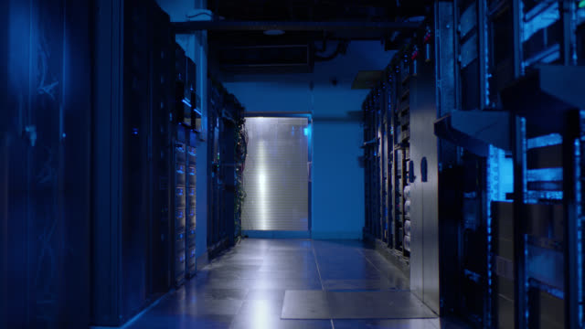 dolly shot server room - storage compartment stock videos & royalty-free footage