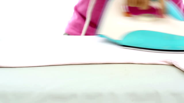 vídeos y material grabado en eventos de stock de dolly shot: camisa de planchar - plancha