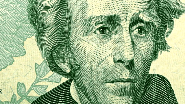 dolly shot showing extreme detail of andrew jackson's engraving on the $20 dollar bill - twenty us dollar note stock videos & royalty-free footage