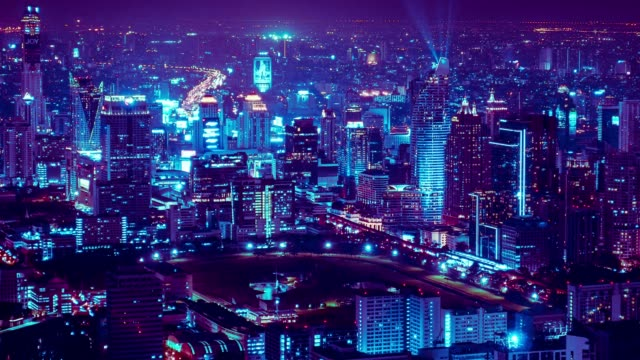 4k dolly shot time lapse - neon light city traffic at night - neon coloured stock videos & royalty-free footage