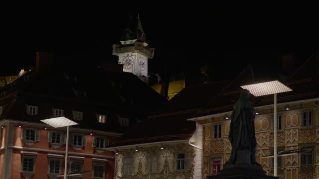 Dolly erschossen: Uhrturm, Graz, Österreich, nachts