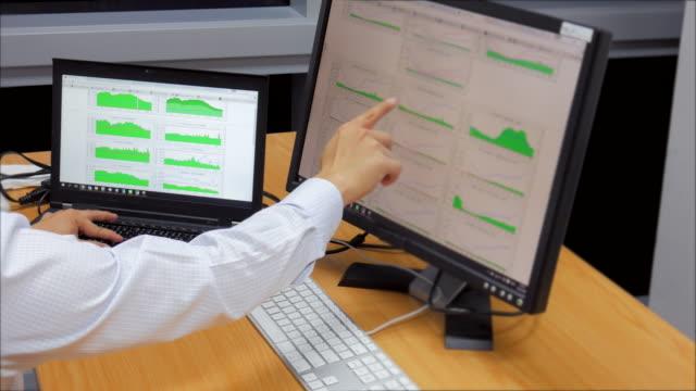 ドリー ショット  : ネットワーク技術、および異常なトラフィックを監視 - 中央管理室点の映像素材/bロール