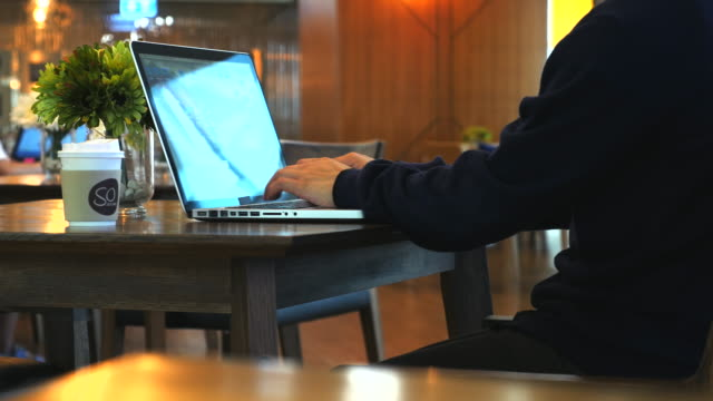 Dolly Shot:Working in coffee shop