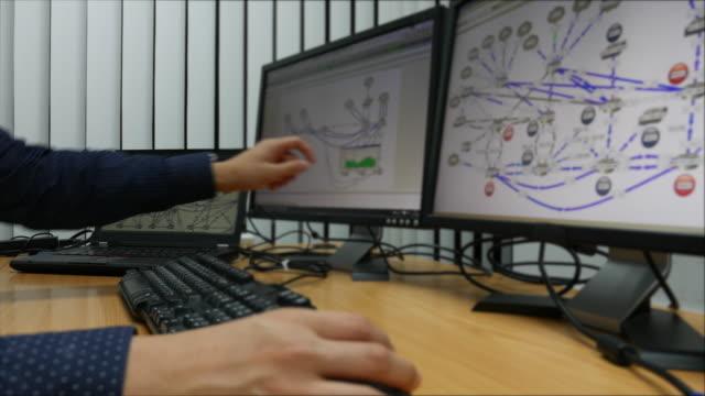 vídeos de stock e filmes b-roll de plano charriot: jovem engenheiro a trabalhar no computador com monitores - conspiração