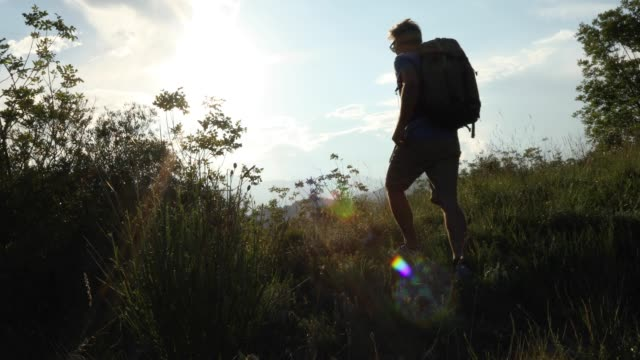 dolly tracking view of man walking into mountain meadow - zaino da montagna video stock e b–roll