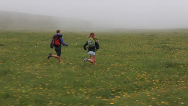 vídeos de stock e filmes b-roll de dolly view of teenagers running thru foggy mountain meadow - prado