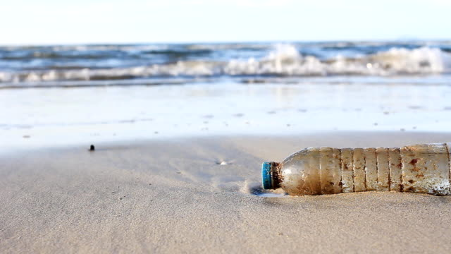 HD dolly:Environmental Pollution, plastic bottle on the beach.