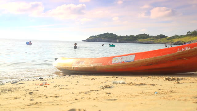 hd dolly:kayakers parked on the beach. - table tennis bat stock videos & royalty-free footage