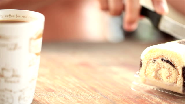 hd dolly:knife was cutting the cake. - eating utensil stock videos and b-roll footage