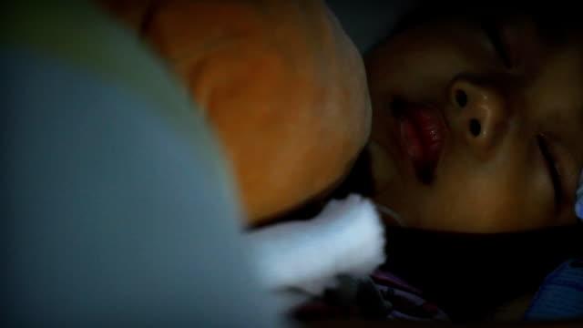 hd dolly:little girl sleeping. - nursery bedroom stock videos & royalty-free footage