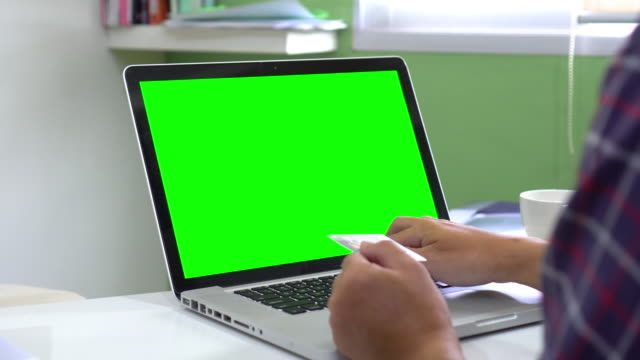 Dolly:Using Computer Laptop for Online shopping,Green Screen