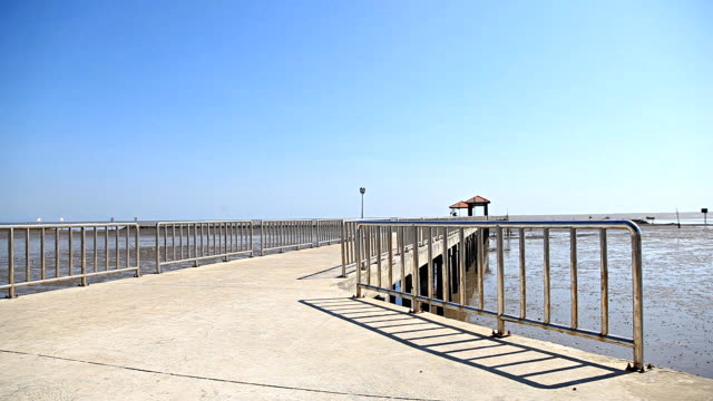 HD Dolly:Walkway to the sea. Clear skies clear
