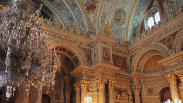 ms zo ws la dolmabahce palace interior, istanbul, turkey - besiktas stock videos and b-roll footage