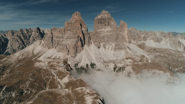 dolomite mountains seen from an aerial point of view, italy - tre cimo di lavaredo stock videos & royalty-free footage