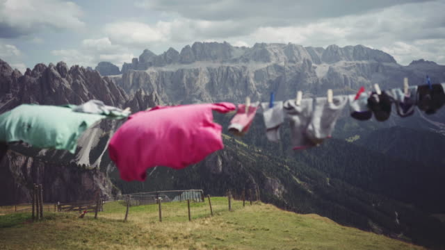 dolomites scenics view: washing line outdoor - dry clothes stock videos and b-roll footage