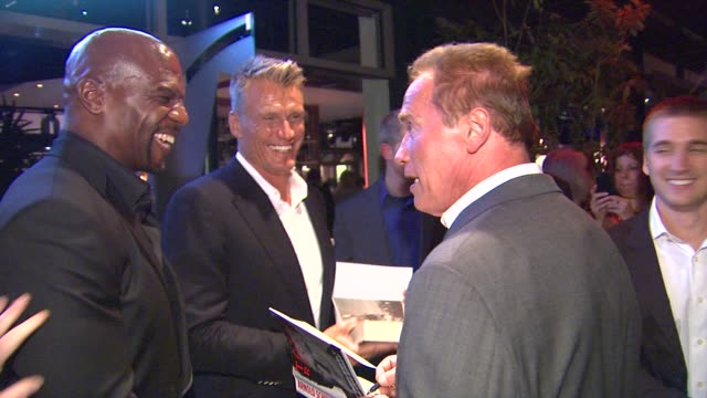 dolph lundgren, terry crews, arnold schwarzenegger at arnold schwarzenegger celebrates the launch of his autobiography, total recall with a party at... - autobiography stock videos & royalty-free footage