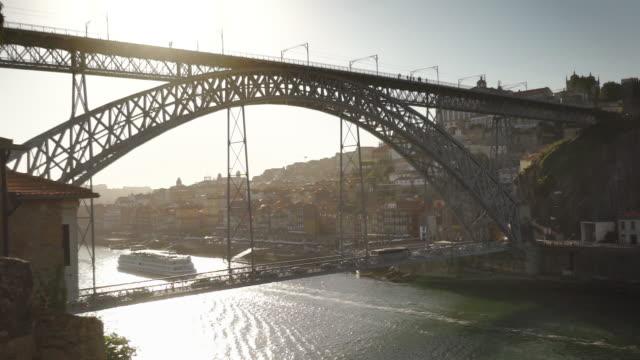 dom luís i bridge, sunny day - porto, portugal - porto district portugal stock videos & royalty-free footage