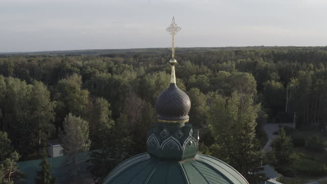 dome and cross of the orthodox church, aerial view, russia - russian culture stock videos & royalty-free footage
