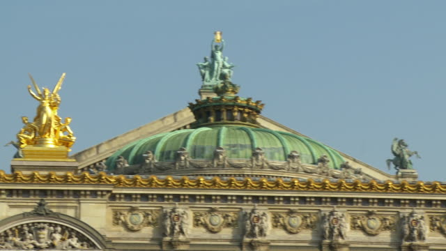 cu pan dome and ornaments on national music academy, paris, france - place de l'opera stock videos and b-roll footage