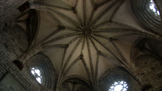 dome ceiling santa maria de valencia cathedral - gothic stock videos & royalty-free footage