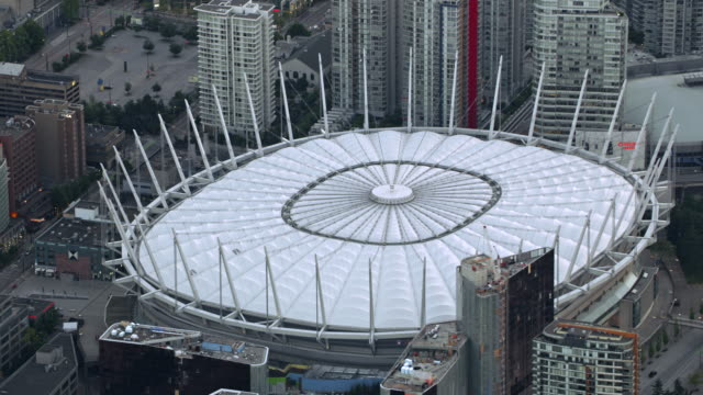 AERIAL Dome of the BC Place stadium in Vancouver